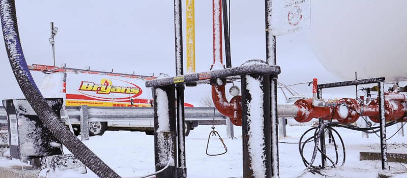 Bryan's fuel lines covered in snow
